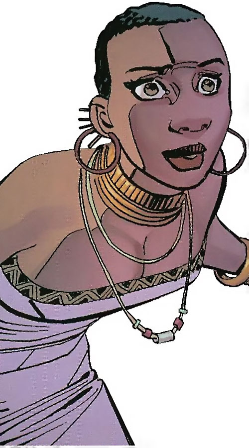 Black Panther (Shuri) (Marvel Comics) (Female) in a purple African dress