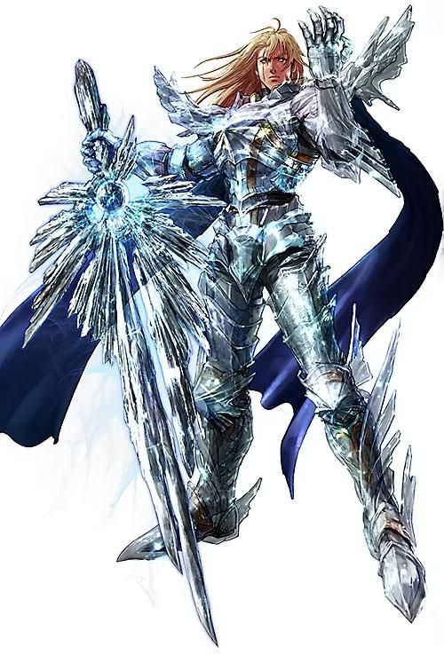 Siegfried Schtauffen (Soul Calibur) with a split blue cape