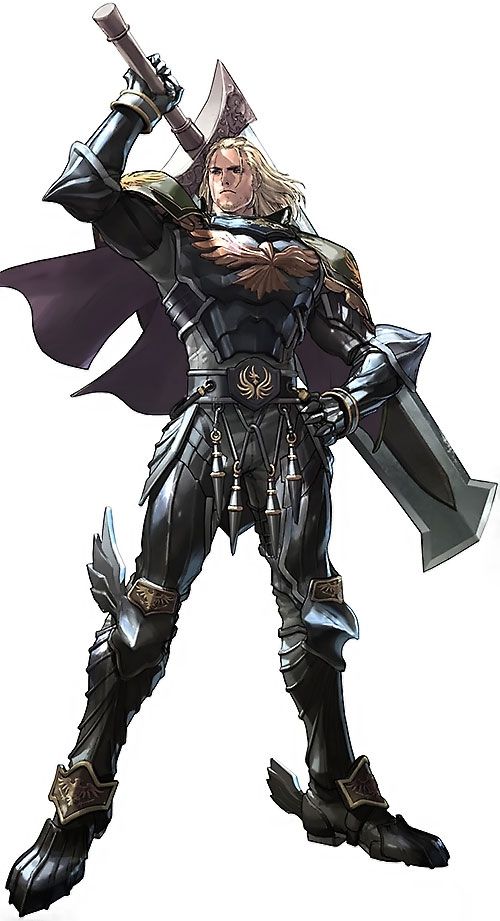 Siegfried Schtauffen (Soul Calibur) with his sword more or less on his shoulder