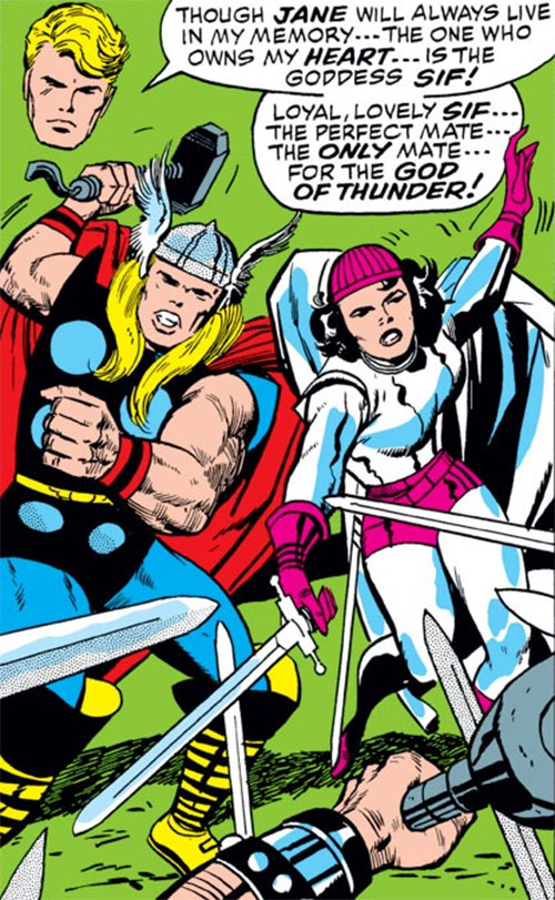 Sif (Thor ally) (Marvel Comics) with a magenta cup hat