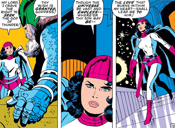 Sif in white and magenta, with Odin