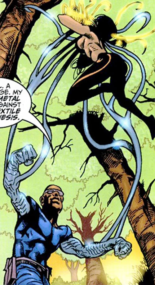 Silicon agent of SHIELD (Marvel Comics) using liquid metal from his arms