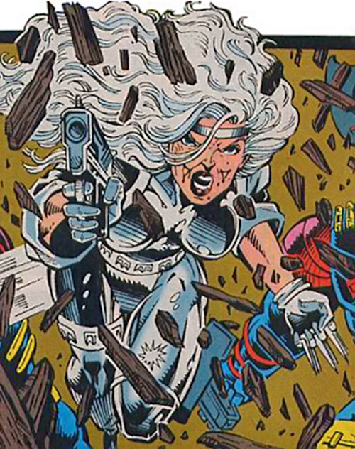 Silver Sable crashing through a door