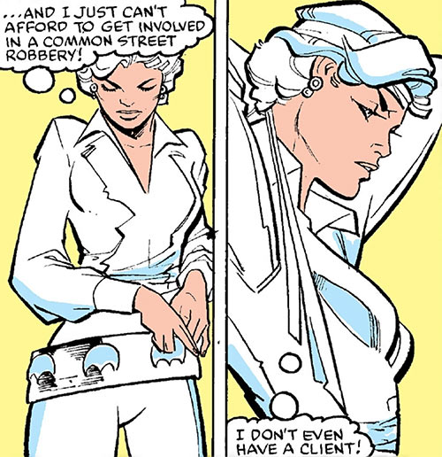 Silver Sable (Marvel Comics) (Early) putting on her belt and headband
