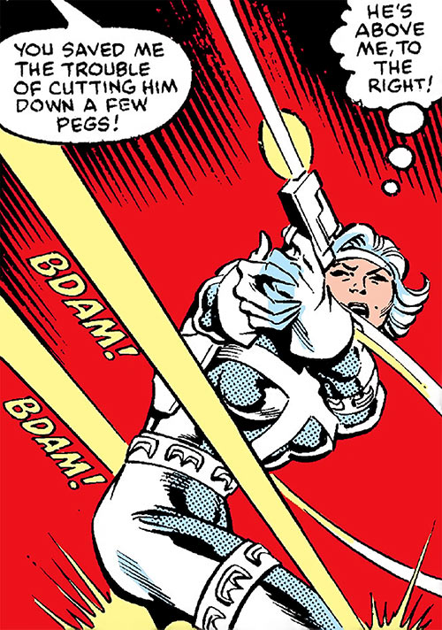 Silver Sable (Marvel Comics) (Early) returning fire
