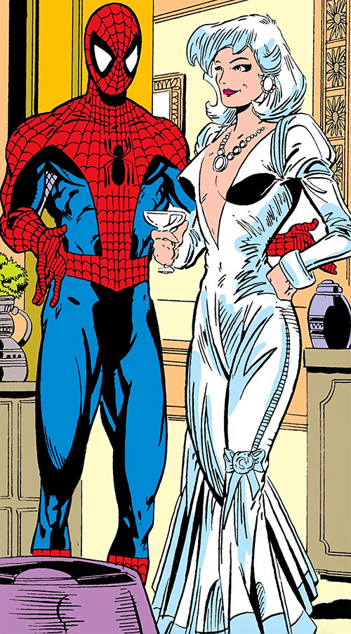 Silver Sable (Marvel Comics) (Early) in a evening gown with Spider-Man
