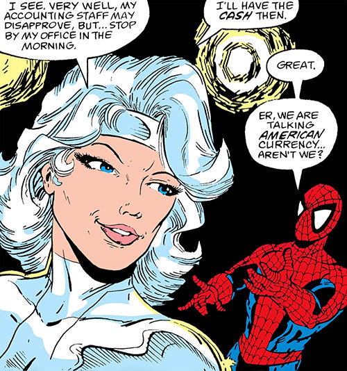Silver Sable (Marvel Comics) (Early) smiling to Spider-Man
