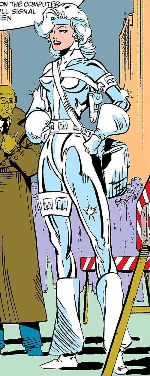 Silver Sable (Marvel Comics) (Early) with a white bag next to a crowd and barriers