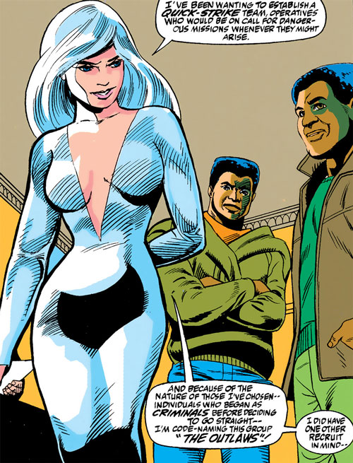 Silver Sable (Marvel Comics) (Early) in a silver gown with Prowler and Rocket Racer