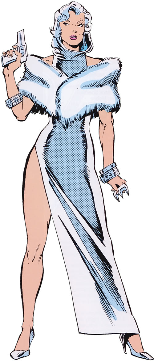Silver Sable (Marvel Comics) (Early) slit silver gown with hood