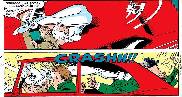 Silver Sable acrobatically storms a car