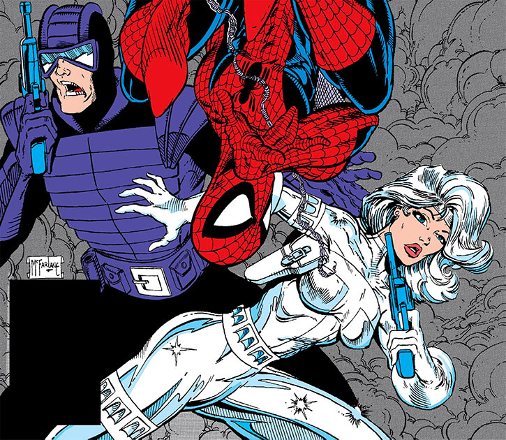 Silver Sable, Spider-Man and Paladin cover art