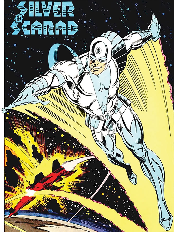 Splash Page of the Silver Scarab in white and blue cowled costume