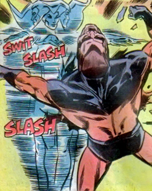 Silver Slasher of the League of Super Assassins (LSH DC Comics) slaughtering Timber Wolf