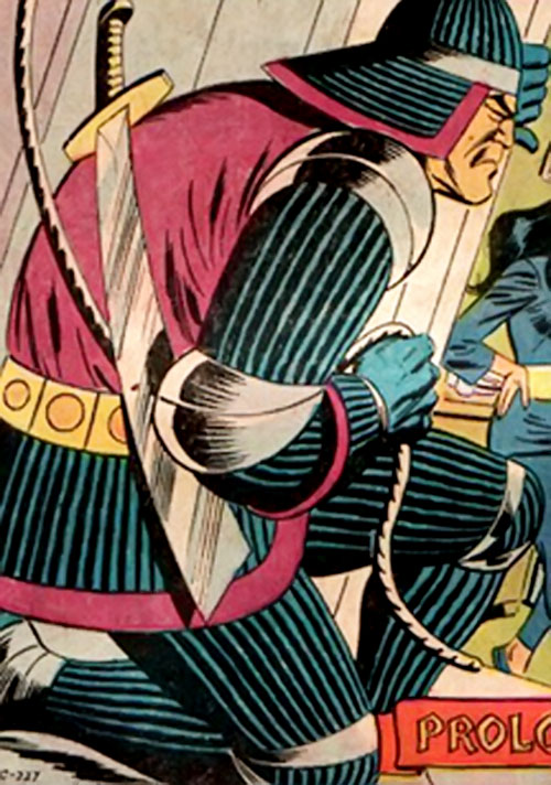 The Sinister Samurai (Richard Dragon enemy) (DC Comics) spying from a window