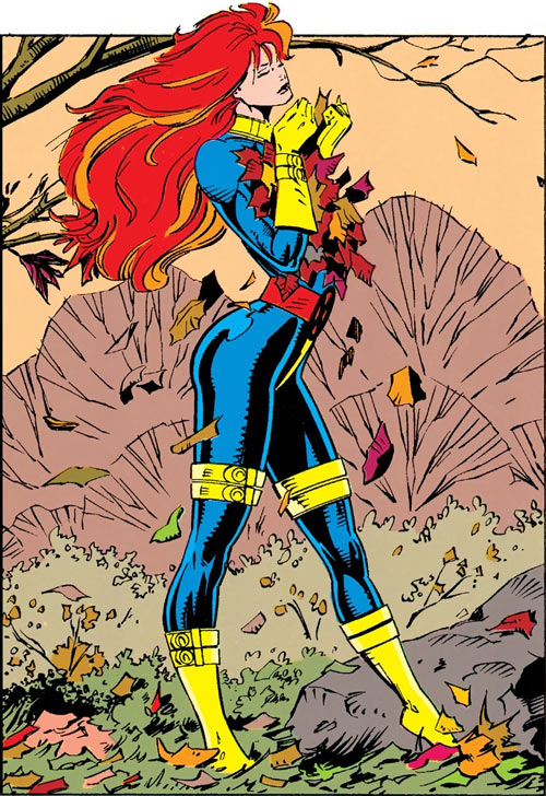 Siryn of X-Force (Marvel Comics) (Cassidy) autumn leaves blue gold uniform