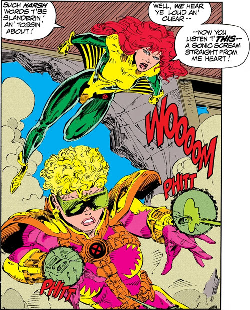 Siryn of X-Force (Marvel Comics) (Cassidy) and Boomer