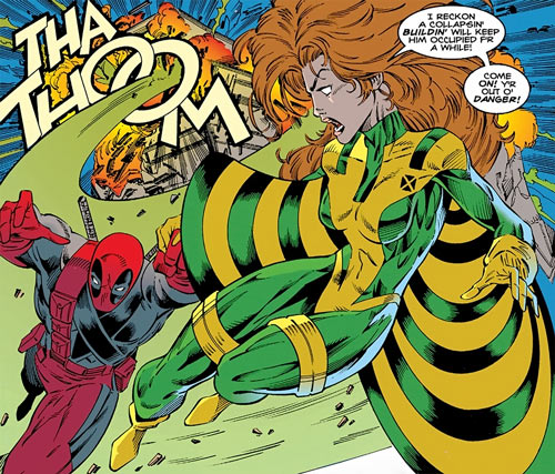 Siryn of X-Force (Marvel Comics) (Cassidy) carrying Deadpool