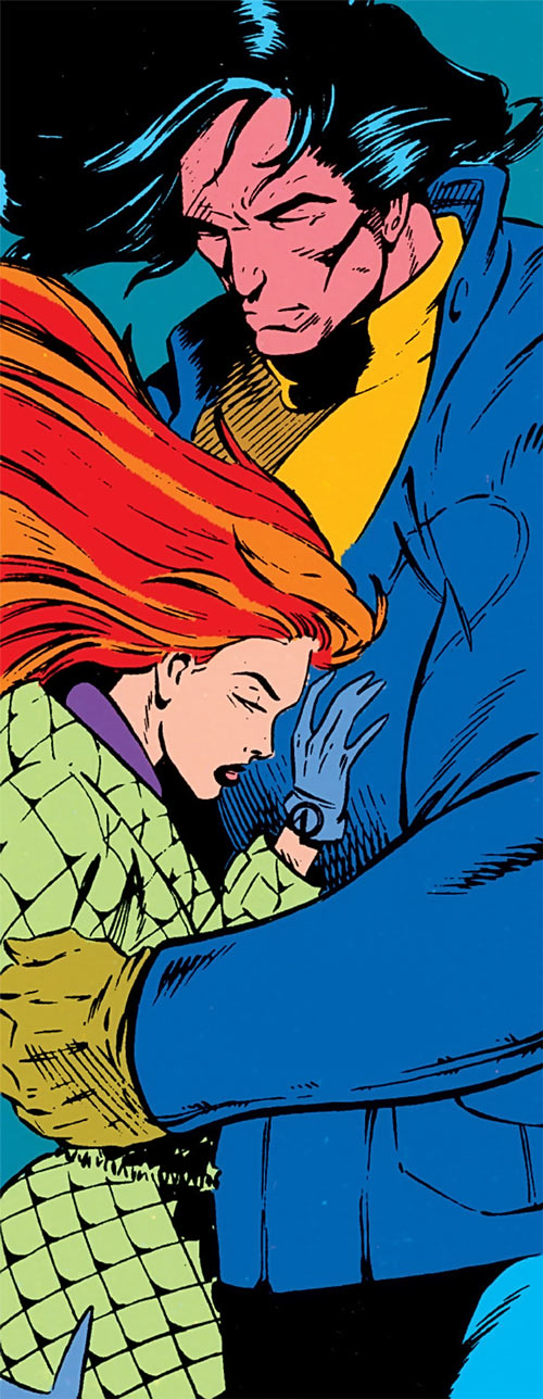 Siryn of X-Force (Marvel Comics) (Cassidy) embracing Proudstar