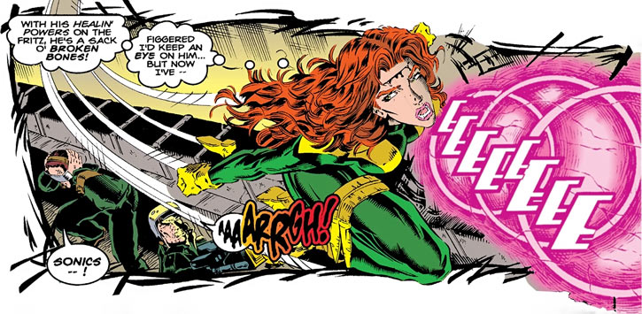 Siryn of X-Force (Marvel Comics) (Cassidy) sonic strafing run