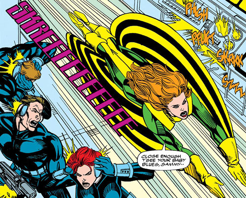 Siryn of X-Force (Marvel Comics) (Cassidy) strafing agents