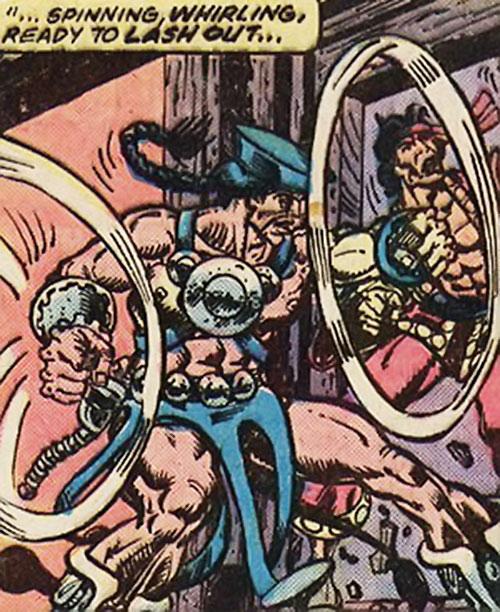 Skullcrusher stops Shang-Chi Master of Kung Fu at a doorway (Marvel Comics)