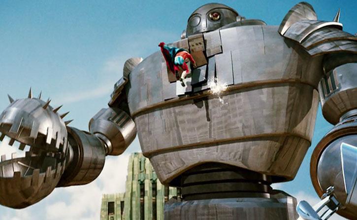 The Commander (Kurt Russell) vs. a giant robot