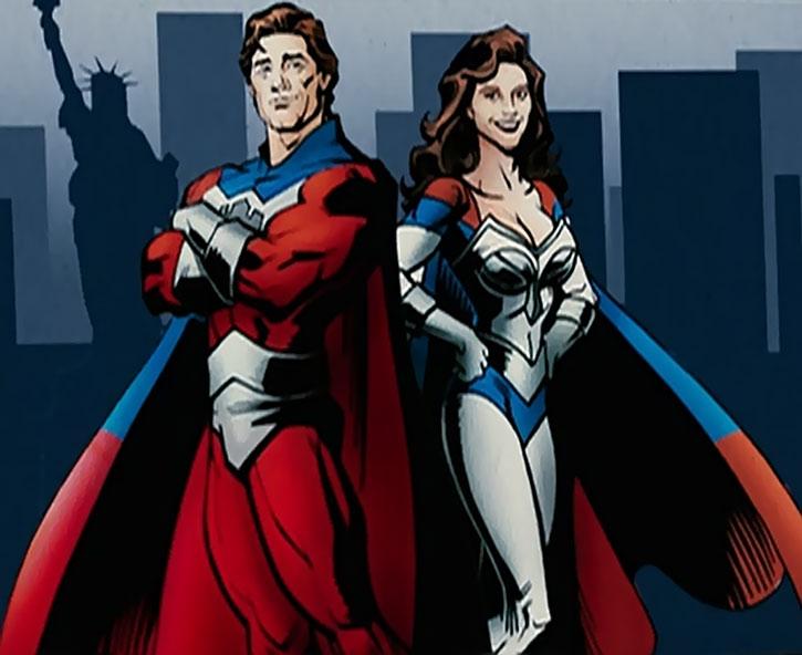The Commander (Kurt Russell) and Jetstream (Kelly Preston) comic book art