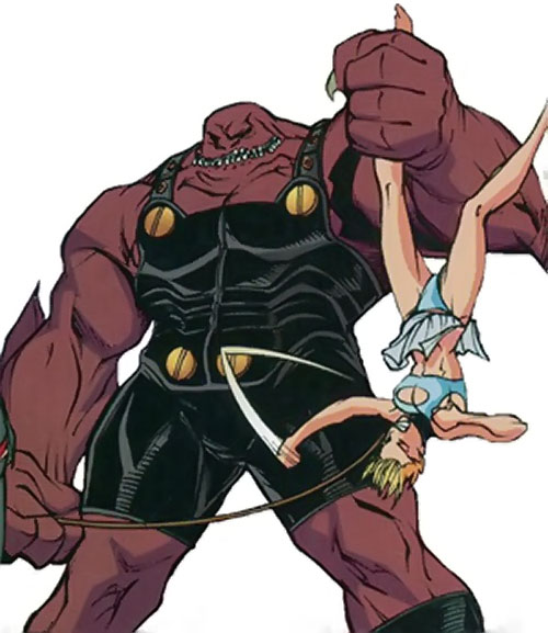 Slackjaw (Spyboy enemy comics) holding a girl by the ankle