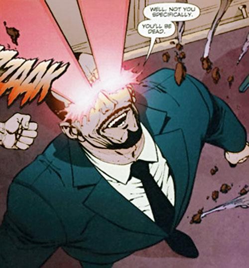 Slaughterhouse Smith (Wildstorm Comics) (Wildcats / Stormwatch enemy) shooting eye beams upward