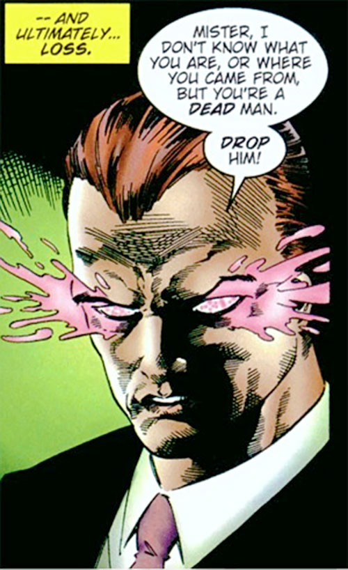 Slaughterhouse Smith (Wildstorm Comics) (Team 1 enemy) face closeup with glowing eyes