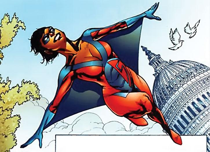 Slingshot (Olivia Lewis) flying near a monument