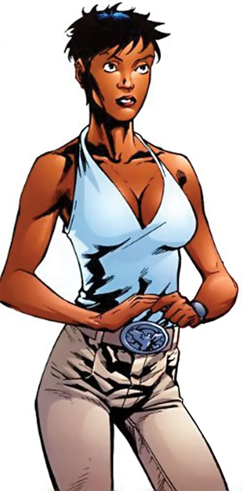 Slingshot aka Menagerie of Dynamo 5 (Image Comics) in a light blue top and beige jeans