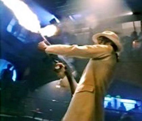 Smooth Criminal firing his machinegun