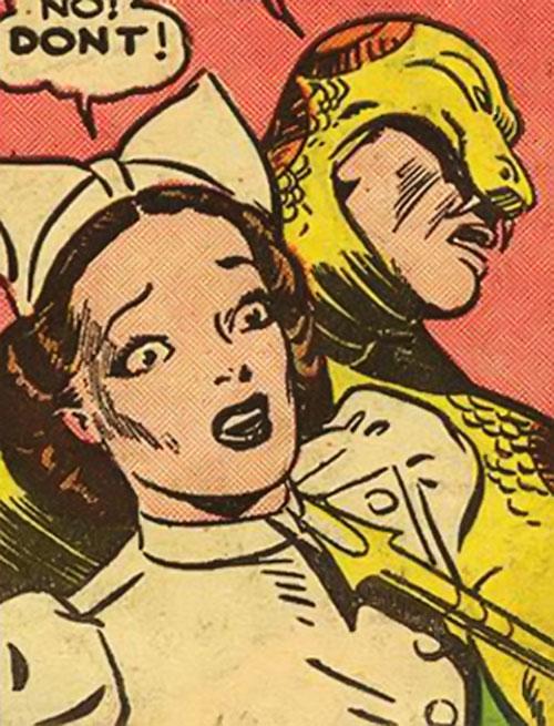The Snake (Superman enemy) holding a nurse hostage