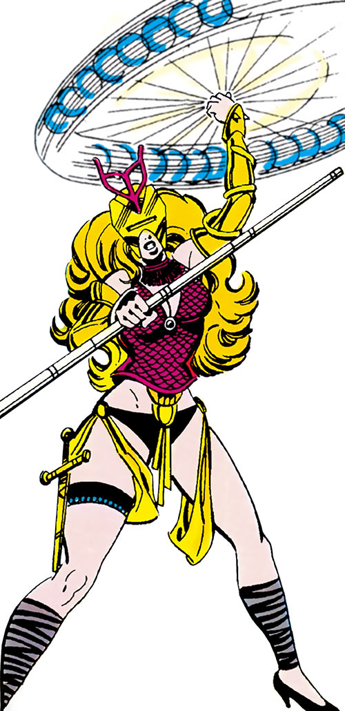 Snapdragon (Marvel Comics) in her 1980s costume using a bola