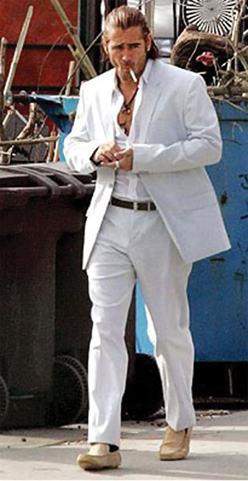 Sonny Crockett (Colin Farrell in Miami Vice) in a white suit