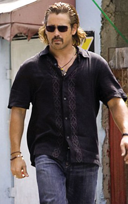 Sonny Crockett (Colin Farrell in Miami Vice) with a deep purple shirt