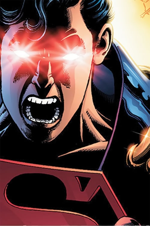 Superboy of Earth-Prime (DC Comics) with eyes burning red
