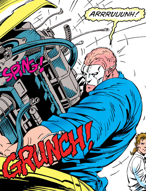 Speedboyz (DC Comics) (Robin enemies) Cassidy ripping out engine block