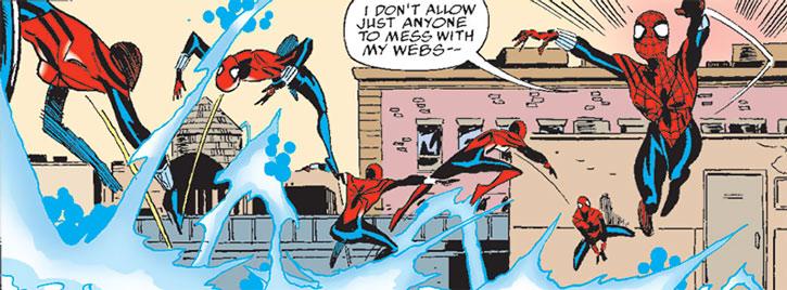"Spider-Girl (May ""Mayday"" Parker) dodging lightning sheets"