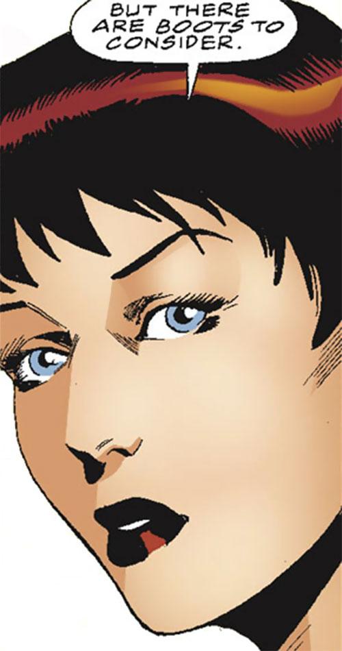 Spider-Girl (May Mayday Parker) (Marvel Comics MC2) intense face closeup