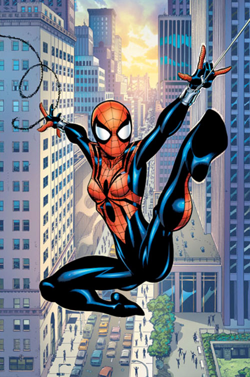 Spider-Girl (May Mayday Parker) (Marvel Comics MC2) swinging through Manhattan