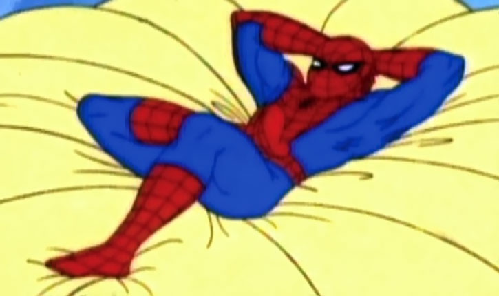Spider-Man (Amazing Friends animated version) resting on a parachute