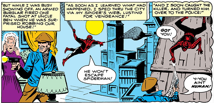 Early Spider-Man (Peter Parker) recap panel, by Steve Ditko