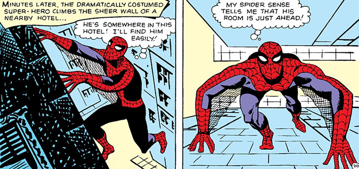 Early Spider-Man (Peter Parker) climbing a building, by Steve Ditko