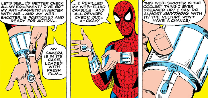 Early Spider-Man (Peter Parker) demonstrating his web-shooters, by Steve Ditko