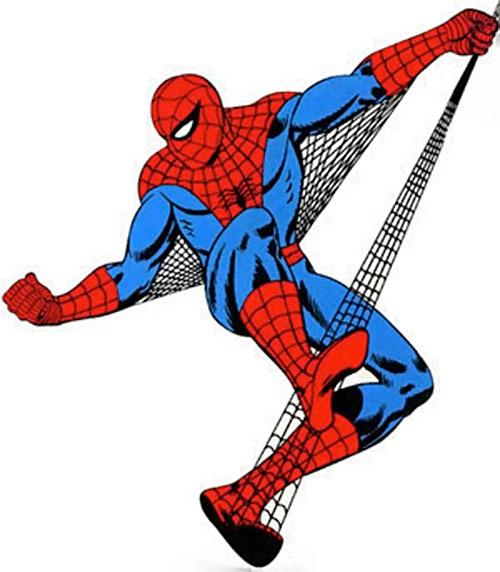 Spider-Man (Marvel Comics) (Peter Parker) riding his webbing