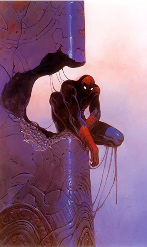 Spider-Man (Marvel Comics) (Peter Parker) and a breached monolith