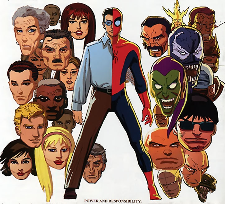 Spider-Man (Peter Parker) with supporting cast and famous villains